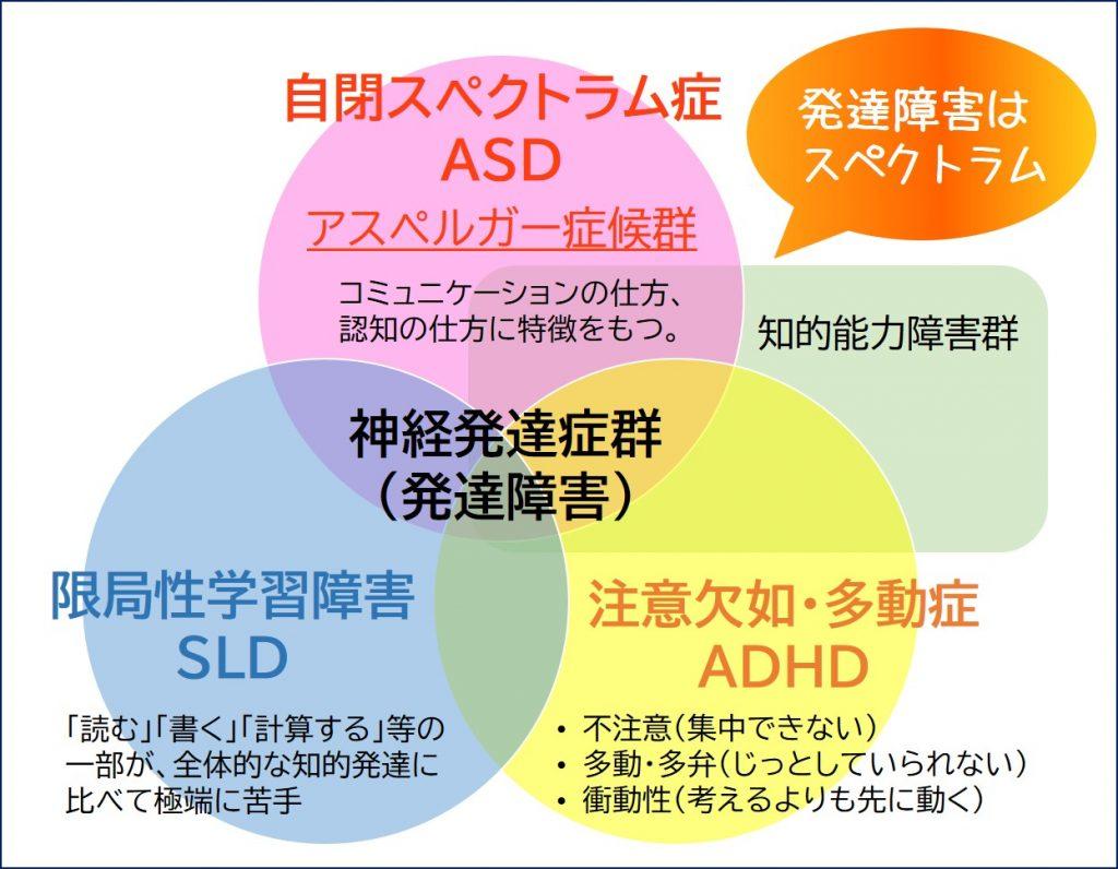 神経発達症群、自閉スペクトラム症、ASD、SLD、ADHD